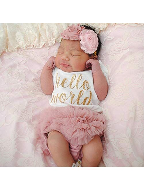 NNJXD Baby Girl 1st Birthday Party Outfits Romper Shorts Headband 3pcs Skirt Sets