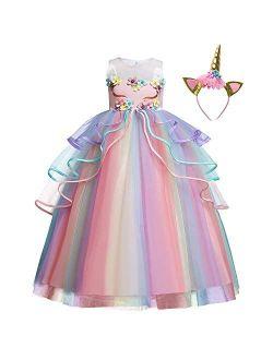Flower Girls Unicorn Costume Pageant Princess Party Dress