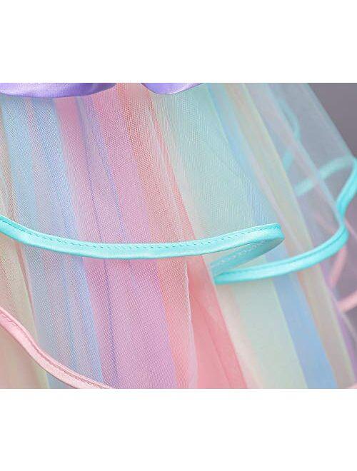 NNJXD Flower Girls Unicorn Costume Pageant Princess Party Dress