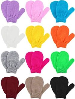 Boao 12 Pairs Stretch Full Finger Mittens Knitted Gloves Winter Warm Knitted Magic Mittens for Kids Supplies