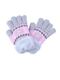 1/2Pairs Kids Boy Girl Warm Winter Gloves Mittens Fleece Lining Snowflake Design