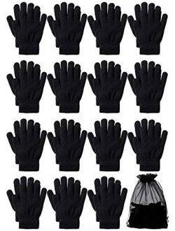 URATOT 15 Pairs Kid's Gloves Warm Knitted Magic Full Fingers Gloves with Mesh Storage Bag for Boys or Girls