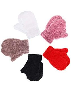Boao 5 Pairs Stretch Full Finger Mittens Knitted Gloves Winter Warm Kid Gloves for Baby Boys and Girls Supplies