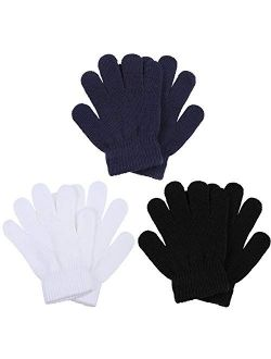 Cooraby 3 Pairs Winter Kids Gloves Warm Stretchy Knitted Magic Gloves Full Finger Mittens