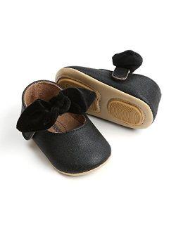 RVROVIC Baby Girls Mary Jane Anti-Slip Bow Toddler Princess Shoes