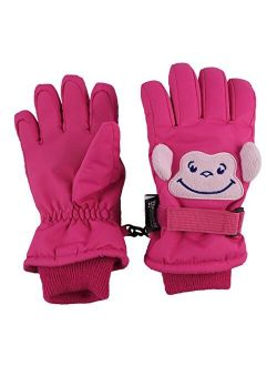 N'Ice Caps Little Kids Squeaky Sound Cute Animal Face Waterproof Gloves