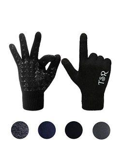 Kids Touchscreen Knit Gloves, Winter Solid Black Children Warm Thick Fleece Lining Gloves
