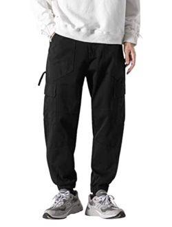 Mens Jogger Casual Pants Long Hip Hop Cargo Pants Black Sweatpants With Pockets