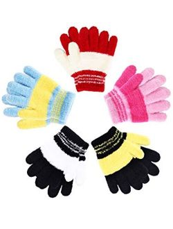 5 Pairs Kids Gloves Full Fingers Gloves Knitted Warm Gloves Winter Mittens for Little Boys and Girls Daily Supplies