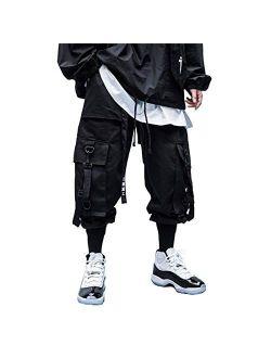 Men's Cargo Joggers Pants Casual Hip Hop Sweatpants Japanese Harajuku Streetwear With Multi Pockets