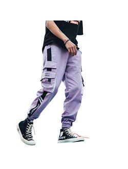 Mens Joggers Pants Color Patchwork Multi-pockets Cargo Pants Outdoor Fashion Casual Pants With Drawstring