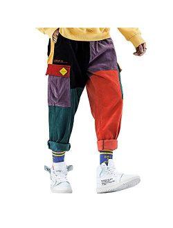 Corduroy Casual Pants Mens Colorful Harem Joggers Harajuku Sweatpants Hip Hop Streetwear Trousers