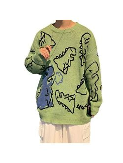 Mens Long Sleeve Van Gogh Printed Cable Knit Sweaters Casual Oversized Sweater Pullover