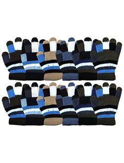 Yacht & Smith Kids Gloves & Mittens in Bulk, Winter Striped Children Age 3-8