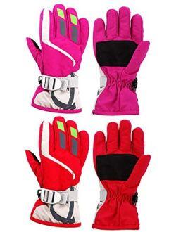 Camlinbo 2 Pair Kids Ski Snow Gloves Snowboard Winter Gloves Boys Girls Toddlers