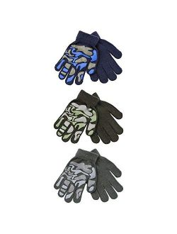 2 Pairs Boys Girls Kids Childrens Grip Gripper Warm Thermal Stretch Magic Gloves Animal, Camo or Football