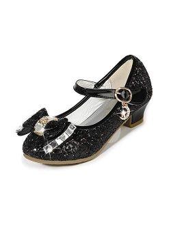 Amtidy Girls Dress Shoes Mary Jane Wedding Party Shoes Glitter Bridesmaids Princess Heels (Toddler/Little Kid/Big Kid)