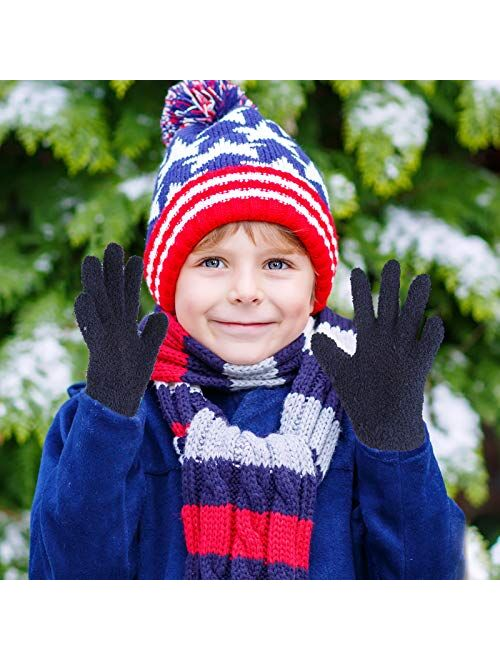 6 Pairs Kids Gloves Full Finger Knitted Thermal Gloves Winter Warm Mitten for 3-8 Years Old Boys Girls