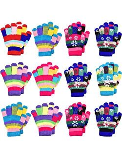 12 Pairs Unisex Kids Gloves Stretch Full Finger Mittens Knitted Gloves Winter Warm Knitted Gloves for Boys and Girls Christmas Giving, Mixed Colors