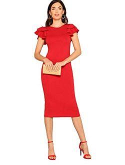 Women's Elegant Layered Ruffle Sleeve Stretchy Pencil Bodycon Party Dress