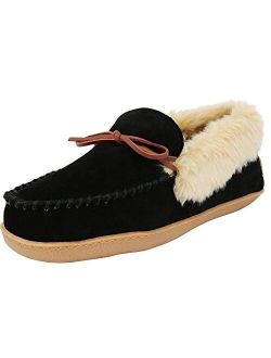 Men's Justin Faux Fur Lined Whipstitch Moccasin Slipper