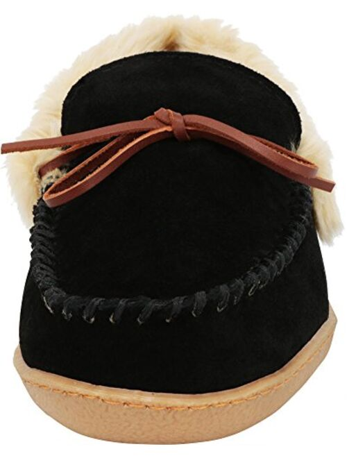 Tamarac by Slippers International Men's Justin Faux Fur Lined Whipstitch Moccasin Slipper