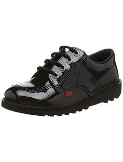 Kickers Kick Lo Core Black Leather Unisex Lace Up School Shoes