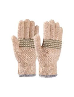 STARHOO Kids Winter Gloves for Girls Boys Fleece Lined Thermal Knitted Child Gloves for Cold Weather