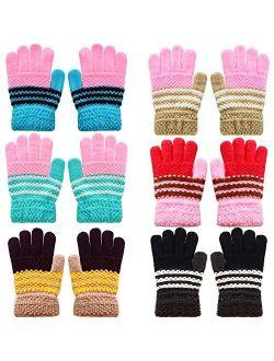 6 Pairs Kids Warm Gloves Winter Magic Stretch Gloves Knit Gloves for Boys Girls