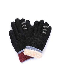DANMO Winter Gloves for Girls Boys Fleece Lined Thermal Knitted Gloves for Kids