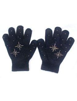 Fashion Every Day @Fedol Girls Ice Skating Gloves Magic Stretch with Rhinestones Snow Flakes