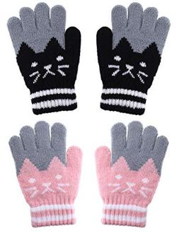 Boao 2 Pairs Kids Winter Gloves Full Finger Knitted Gloves Warm Stretchy Mittens for Boys Girls Supplies (Color Set 1)