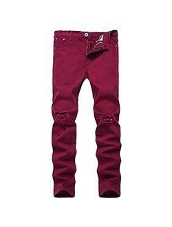 OBT Big Boy's Skinny Ripped Jeans Destroyed Stretch Slim Distressed Pants