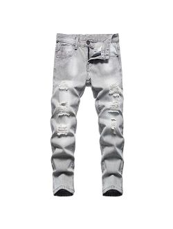 NEWSEE Boy's Skinny Fit Ripped Jeans Destroyed Distressed Stretch Denim Slim Jeans Pants