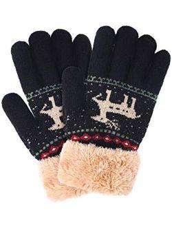 Boao Kids Winter Knit Gloves Warm Plush Lined Knitting Gloves Thickened Full Finger Mittens for Kids Boys Girls