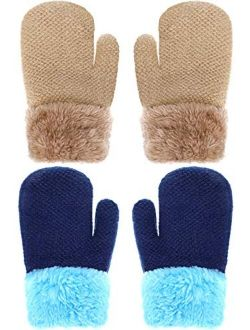 Boao 2 Pairs Winter Toddler Gloves Warm Plush Lined Knit Gloves Full Fingers Chunky Mittens for Boys and Girls