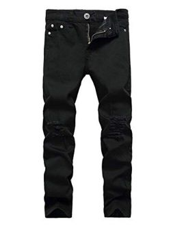 Boy's Skinny Ripped Jeans Distressed Destroyed Slim Fit Jeans Denim Pants