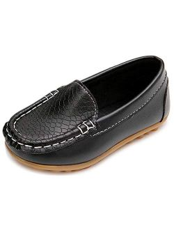 Moceen Toddler Boys Girls Loafer Shoes Soft Synthetic Leather Slip On Moccasin Flat Boat Dress Shoes