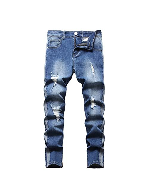 NEWSEE Boy's Moto Skinny Fit Ripped Jeans Distressed Stretch Fashion Denim Jeans Pants