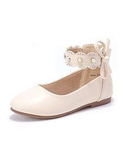 PANDANINJIA Girls Toddler/Little Kid Sara Bow Ballerina Flats Pearl Scallop Ankle Strap Dress Ballet Flat Shoes