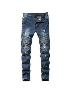 Wedama Boy's Distressed Moto Biker Skinny Ripped Jeans Wrinkled Stretch Fit Denim Jeans Pants