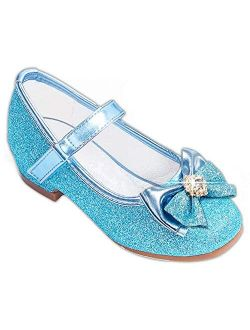 Furdeour Girls Dress Shoes Mary Jane Wedding Flower Bridesmaids Heels Glitter Princess Shoes for Kids Toddler