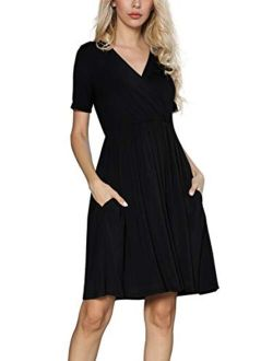 Women's Casual Loose Short Sleeve V Neck Summer Dresses With Pockets