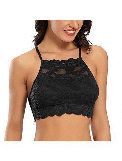DotVol High-Neck Lace Bralette for Women Racerback Floral Crop Top Vest Bra