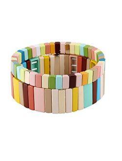 Enamel Bracelets Set Enamel Tila Beads Bracelets Stretch Bohemian Strand Rainbow Bracelet Sets For Lady Women & Men Bracelet