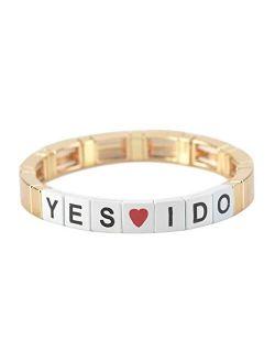 Tile Enamel Gold Letter Words Bracelet Colorblock Bracelet Elastic Rectangle Bracelet Bead Tile Bracelets For Women Men Stackable Gold Tila Bracelets