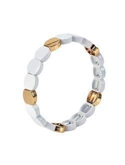 Honeycomb Enamel Bracelet Rainbow Colorful Tile Beads Bracelets For Women Stackable Colorblock Elastic Bangle Bracelets