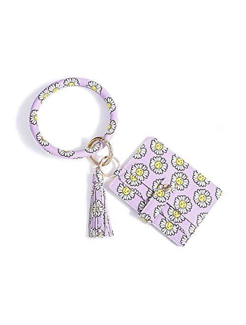 Wristlet Keychain Bracelet Bangle Keyring Round Key Ring Keychain Gift Keyring Bracelet For Women Girls Leopard
