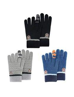 ORVINNER Kids Winter Gloves for Boys Girls, 3 Pairs Children Warm Wool Lined Gloves Toddler Thermal Knitted Mittens