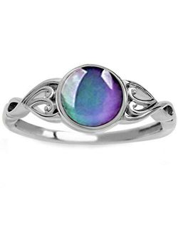 Children Girl Round Shape Simulated Moon Stone Color Changing Mood Ring